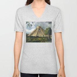 Mayan Pyramid Unisex V-Neck