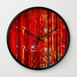 The Red Metal Wall Wall Clock