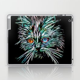 Odd-Eyed White Glowing Cat Laptop & iPad Skin