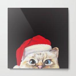 Peeking Santa Cat Metal Print