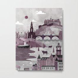Edinburgh Travel Poster Illustration Metal Print