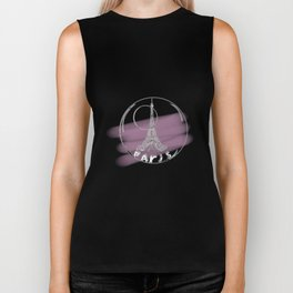 Paris in a hot air balloon on purple background . pastel color Biker Tank
