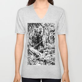 Sasquatch is camouflaged Unisex V-Neck