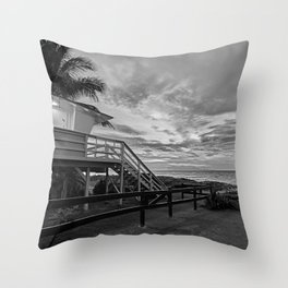 Sunset on lifeguard tower  Throw Pillow