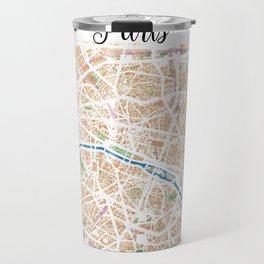 Watercolor map of Paris Travel Mug