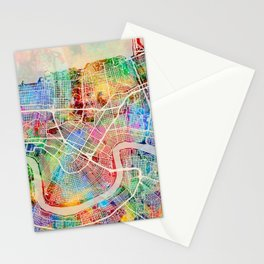 New Orleans City Street Map Stationery Cards