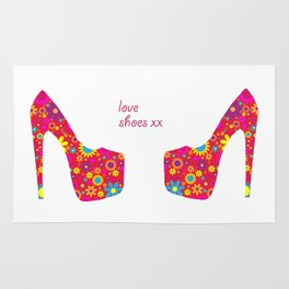 Love Shoes Floral Fun Art Rug
