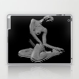 0111-DJA Abstract Nude Black & White Light Zebra Pattern Slender Woman Beautiful Body Flow Laptop & iPad Skin