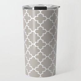 Classic Quatrefoil pattern, warm grey Travel Mug
