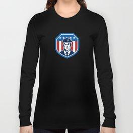 American Security Guard Flag Shield Retro Long Sleeve T-shirt