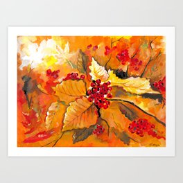Autumn / Fall Painting - Berries and Changing Leaves Art Art Print