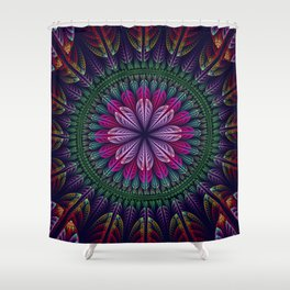 Summer mandala with fantasy flower and petals Shower Curtain