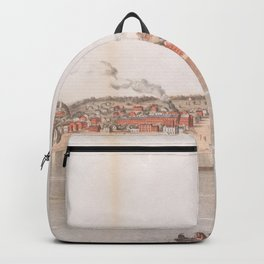 Vintage Pictorial Map of Davenport IA (1855) Backpack