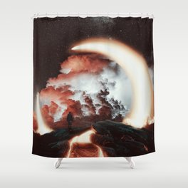 Volcanic crater beneath a crescent moon by GEN Z Shower Curtain