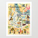 Vintage Amsterdam Map Collage poster print, wall art by claudiaschoen