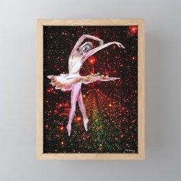 Ballet Cosmic Dancer , female figure dance art and stars Framed Mini Art Print
