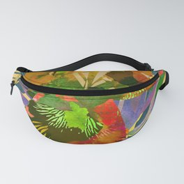 Watercolor Iris Flower with Shadows - Gold Fanny Pack