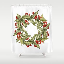 Wild Holly Shower Curtain