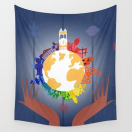 It's A Small World In Your Hands Wall Tapestry