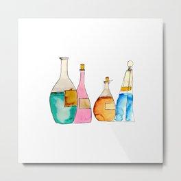 Mysterious Bottles Metal Print