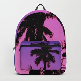 Tropical palm trees with purplish gradient Backpack