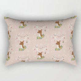 Christmas Deer in Blush Pink Rectangular Pillow