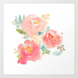 Watercolor Peonies Summer Bouquet Art Print