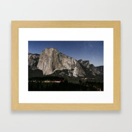 El Capitan, Stars, Headlamps Of Climbers, And The Meadow Below Framed Art Print