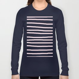 Simply Drawn Stripes in Pink Flamingo Long Sleeve T-shirt
