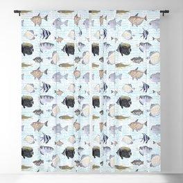 Fish Pattern - Cool Seacoast Watercolor Blackout Curtain