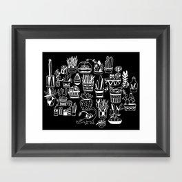 Succulent Party (Night Version) Framed Art Print