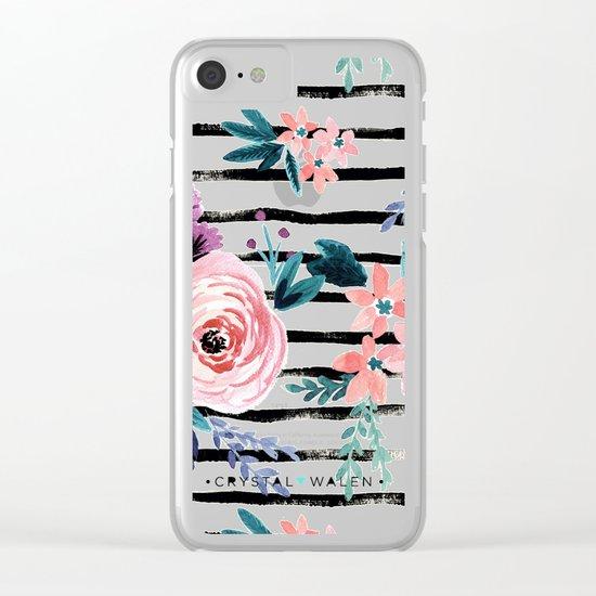 Victoria Floral Stripe Clear iPhone Case
