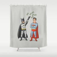 superheros Shower Curtains featuring Super Rich by Ian Byers
