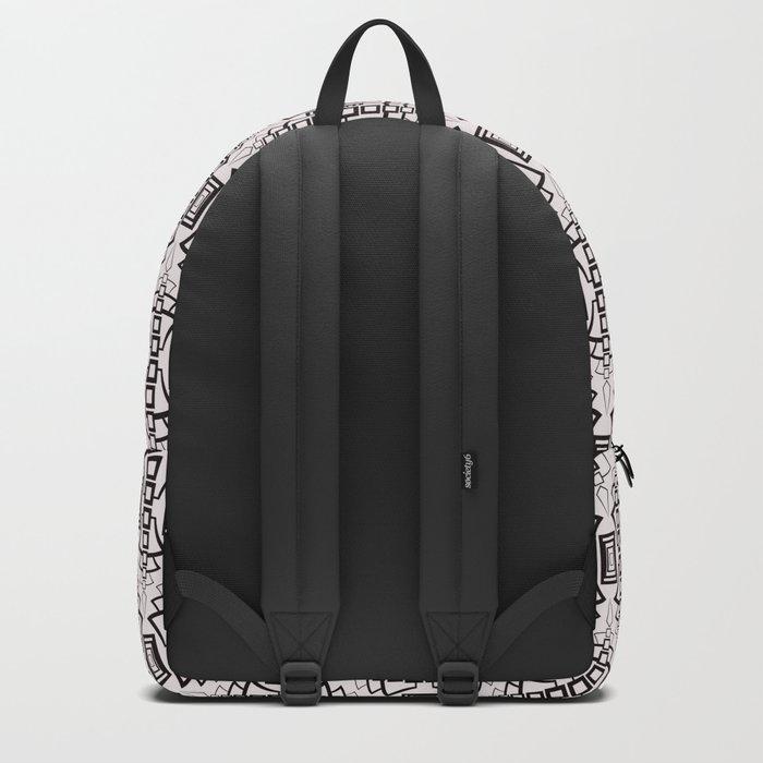 Art Deco 12 . Black and beige pattern . Backpack