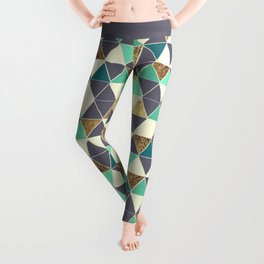 Modern Gray White Teal and Faux Gold Triangles Leggings