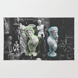Greek statues *neon lights* Rug