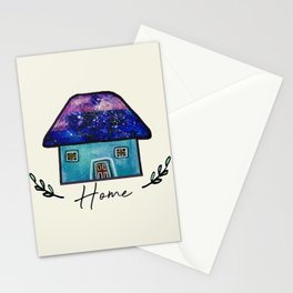 Hand Painted Watercolor Milky Way Roof Top Houses Stationery Cards