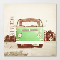 volkswagon Canvas Prints featuring Vintage Volkswagen Bus (Green Edition) by Laura Ruth