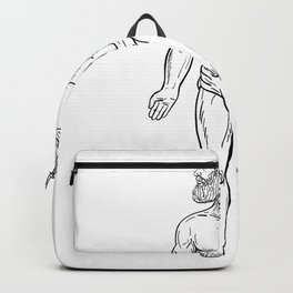 Alien Octopus Inside Head of Human Drawing Black and White Backpack