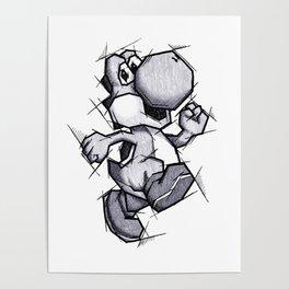 Yoshi Handmade Drawing, Games Art, Super Mario, Nintendo Art Poster