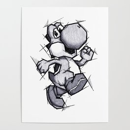 Yoshi Handmade Drawing, Games Art, Super Mario, Nintendo Art Poster