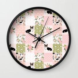 Tricolored Corgi Patchwork - feminine floral, florals corgis, dog lover, dog design, cute dogs Wall Clock