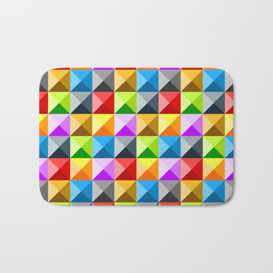Colorful quarter square triangle pattern Bath Mat
