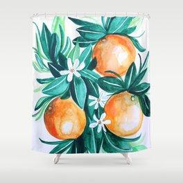 Orange flower watercolor Shower Curtain