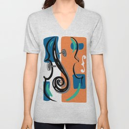 Scroll Pride - violin viola cello love - orange and teal Unisex V-Neck