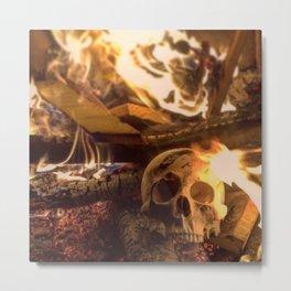 Catacomb Culture - Human Skull Fire Metal Print
