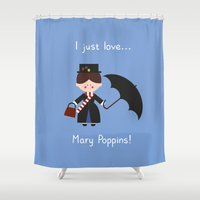mary poppins Shower Curtains featuring I just love Mary Poppins! by Juliana Motzko