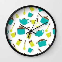 Kitchen Utensils, Cookware, Cutlery - Blue Green Wall Clock