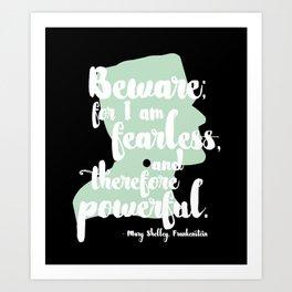 Frankenstein + Mary Shelley Quote #1 + Black Art Print