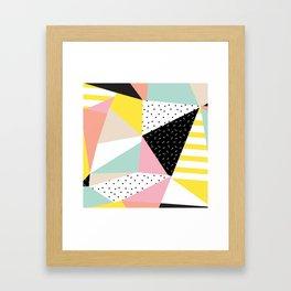 80s Retro Geometric Pattern Framed Art Print